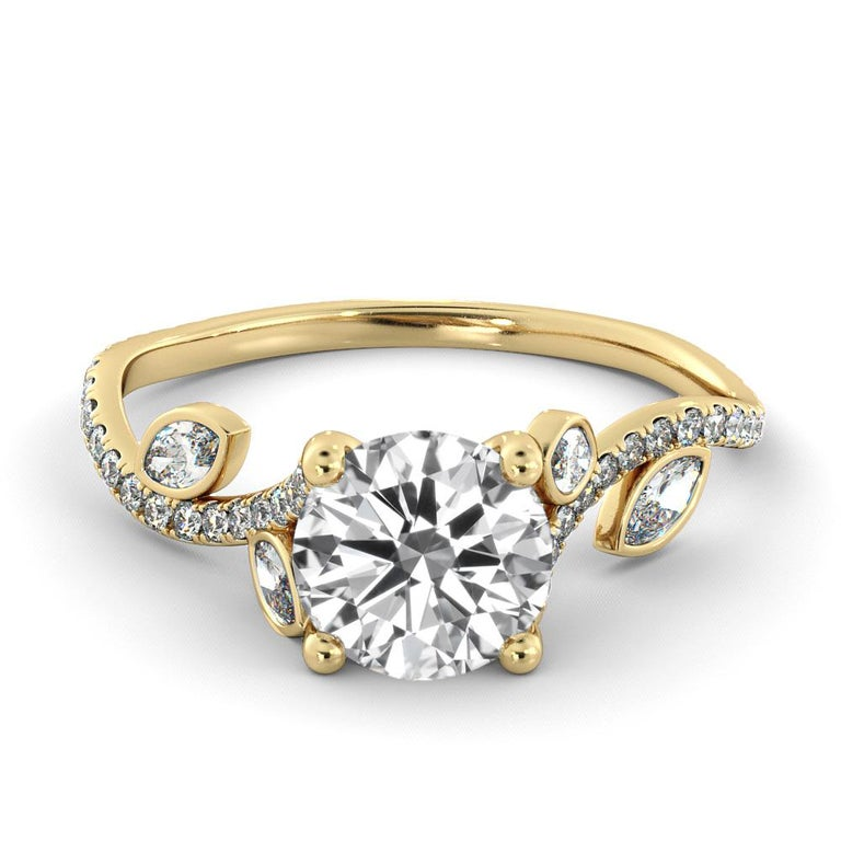 This gorgeous vintage leaf style ring features a solitaire GIA certified diamond. Center stone is 100% eye clean natural 1.5 carat, round shaped diamond of F-G color and VS2-SI1 clarity and it is surrounded with smaller natural diamonds of approx