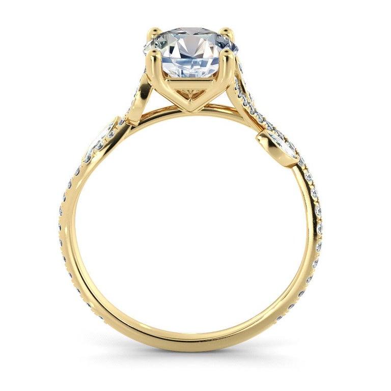Round Cut 2 Carat GIA Round Diamond Ring, 18 Karat Yellow Gold Flower Vine Ring For Sale