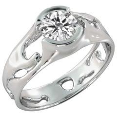 2 Carat GIA Round Diamond Engagement Ring, Solitaire Bezel 18 Karat White Gold
