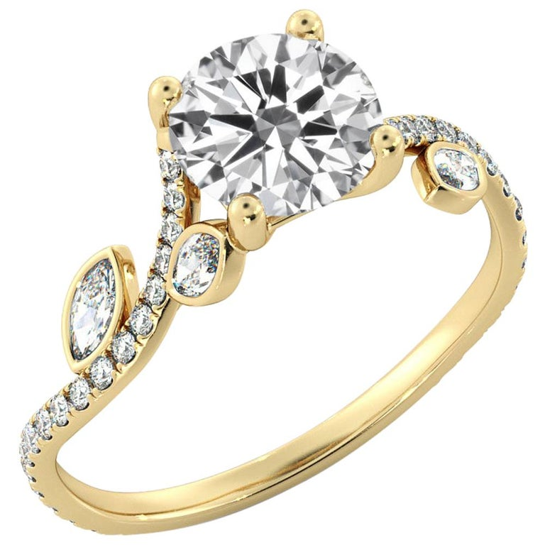 2 Carat GIA Round Diamond Ring, 18 Karat Yellow Gold Flower Vine Ring For Sale