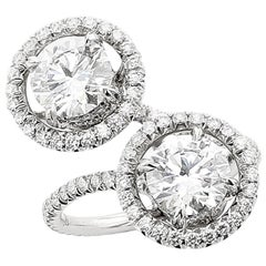2 Carat GIA Type 2A D Flawless Diamond Toi Et Moi Platinum Earring and Ring