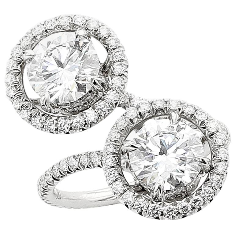2 Carat GIA Type 2A D Flawless Diamond Toi Et Moi Platinum Earring and Ring For Sale