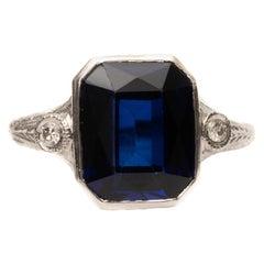 2 Carat Iolite and Diamond Ring in 18 Karat Gold