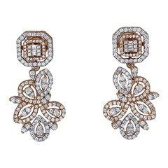 Ornate, 2 Carat Earrings, Rose 18Kt 2-Tone, VS Dangle Earrings