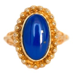 2 Carat Lapis Yellow Gold Engagement Ring