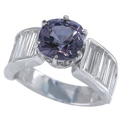 2 Carat Light Purple Spinel Set with 2.4 Carat Diamonds in 18 Karat Gold