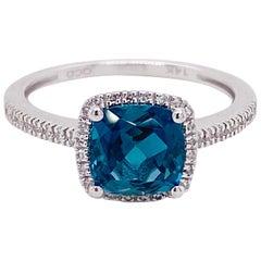 2 Carat London Blue Topaz and Diamond Halo Ring 14 Karat Gold Cushion Cut Topaz