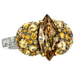 2 Carat Marquise Fancy Greenish Brown, Cognac Diamond Cocktail Ring
