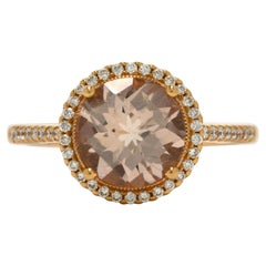 2 Carat Morganite Gem Engagement Ring Diamond Halo Target Rose Gold Modern Style
