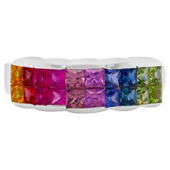 2 Carat Multi-Color Sapphire Rainbow Band Ring