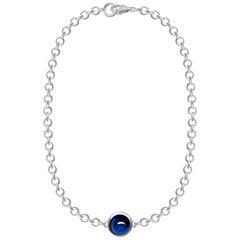 2 Carat Natural Blue Sapphire Cabochon 18 Karat White Gold Chain Bracelet