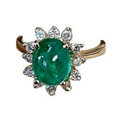 2 Carat Natural Cushion Cabochon Emerald & Diamond Ring 14 Karat Yellow Gold