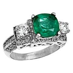 2 Carat Natural Cushion Cut Emerald & Diamond Ring 14 Karat White Gold
