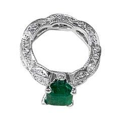 2 Carat Natural Emerald Cut Emerald & 0.85 Ct Diamond Ring in Platinum