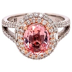 2 Carat No Heat Padparadscha Sapphire Diamond Ring
