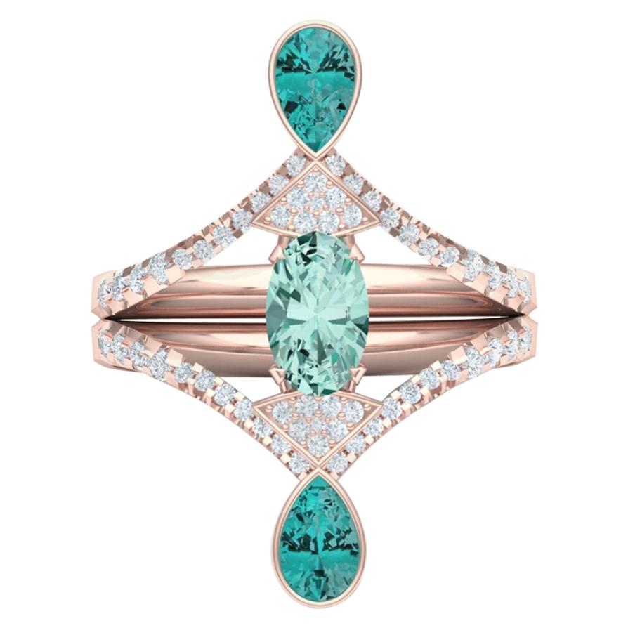 2 Carat of Teal Blue Green Tourmaline and Diamond Rose Gold Ring