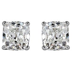 2 Carat Old Mine Cut Antique Diamond Stud Earrings E/F Color
