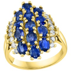 2 Carat Oval Blue Sapphire and Diamond Cocktail Ring in 14 Karat Gold Estate