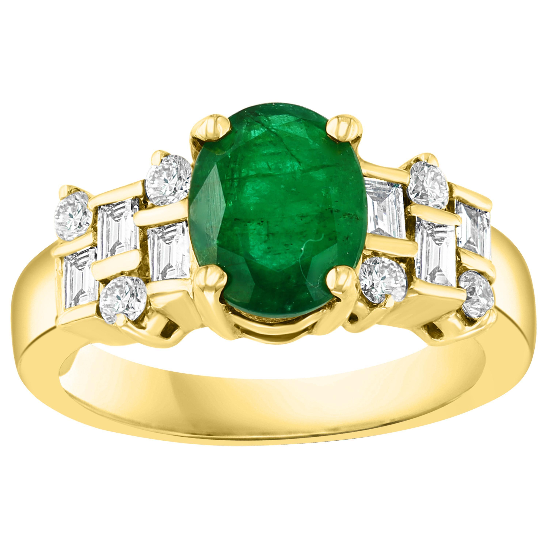 2 Carat Oval Cut Emerald and 0.5 Carat Diamond Ring 18 Karat Yellow Gold