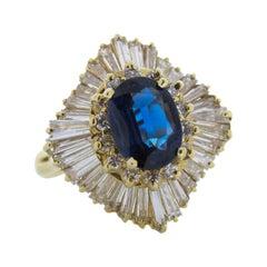 2 Carat Oval Sapphire & Diamond Ring in 14k Yellow Gold