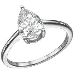 2 Carat Pear Shape Diamond Ring, 18 Karat White Gold Solitaire Engagement Ring