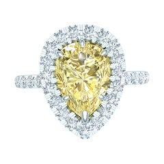 2 Carat Pear Shape Yellow Diamond Engagement Ring