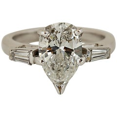 2 Carat Pear Shaped Diamond Engagement Ring