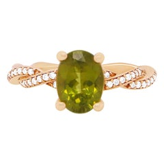 2 Carat Peridot and Diamond Ring