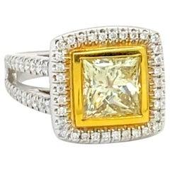 2 Carat Princess Cut Yellow Diamond Ring