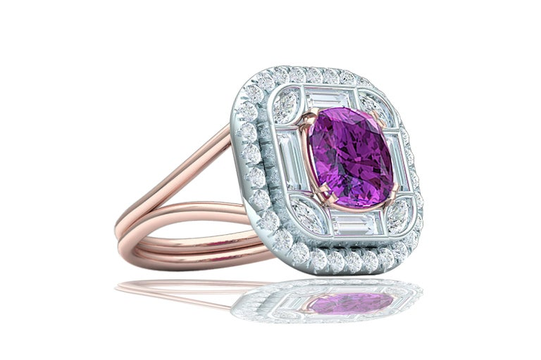 2 Carat Purplish Pink Cushion Cut Sapphire Diamond Cocktail Ring In Excellent Condition For Sale In Aliso Viejo, CA