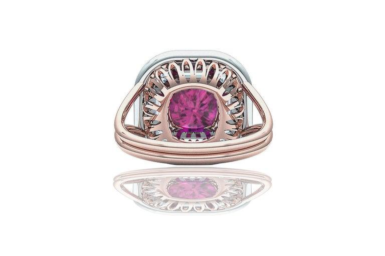 2 Carat Purplish Pink Cushion Cut Sapphire Diamond Cocktail Ring For Sale 1