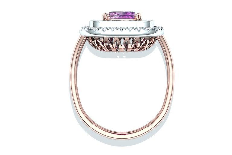2 Carat Purplish Pink Cushion Cut Sapphire Diamond Cocktail Ring For Sale 2