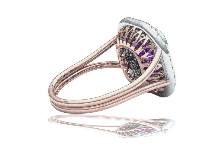 2 Carat Purplish Pink Cushion Cut Sapphire Diamond Cocktail Ring For Sale 3