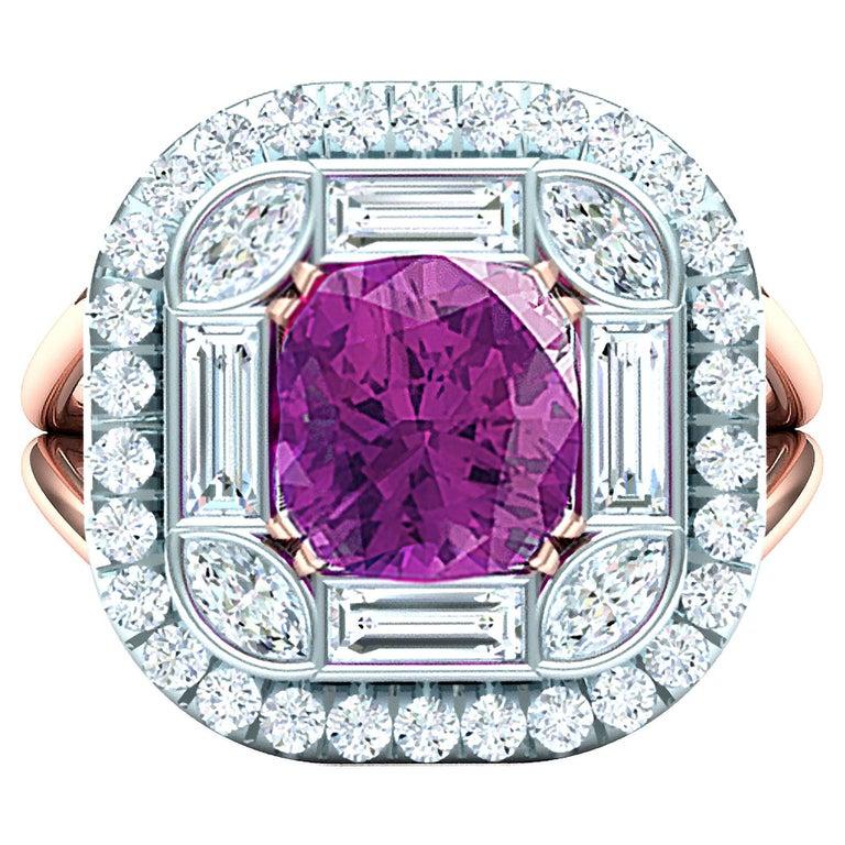 2 Carat Purplish Pink Cushion Cut Sapphire Diamond Cocktail Ring For Sale