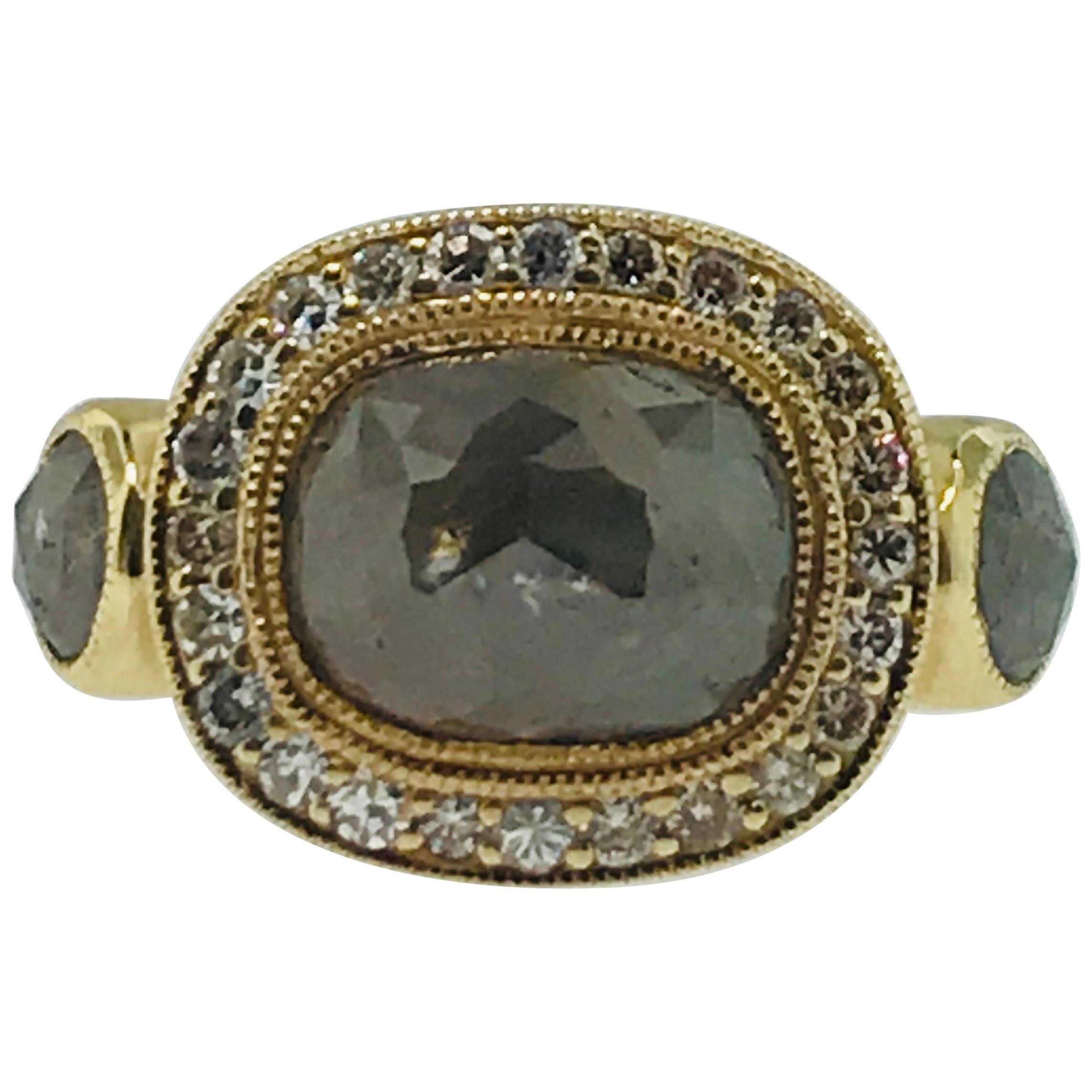 2 Carat Rose Cut Rough Diamond and 2.60 Carat Diamond Halo Engagement Ring