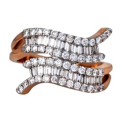 2 Carat Rose Gold and Diamond Baguette Ring