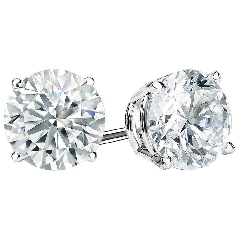 2 Carat Round Brilliant Cut Diamond Stud Earrings 14 Karat White Gold Setting