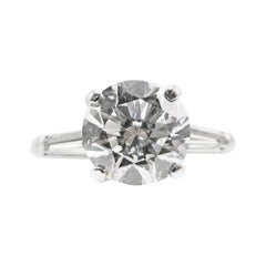 Classic 2 Carat Round Brilliant GIA Certified Diamond Platinum Engagement Ring