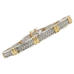 2 Carat Round Cut Diamond 14 Karat Two Tone Gold Bracelet