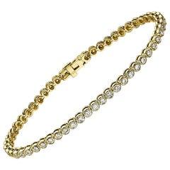 2 Carat Round Diamond Bracelet, 14 Karat Yellow Gold Bezel Tennis Bracelet