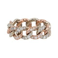 2 Carat Round Diamond Pave Cuban Link Ring 14 Karat
