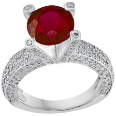 2 Carat Round Treated Ruby and Diamond Platinum Ring