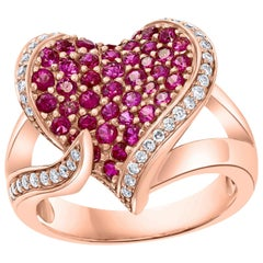 2 Carat Ruby and 0.75 Carat Diamond 18 Karat Rose Gold Heart Shape Ring