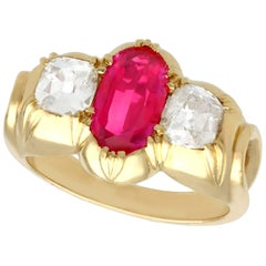 2 Carat Ruby and Diamond Yellow Gold Cocktail Ring Antique circa 1900