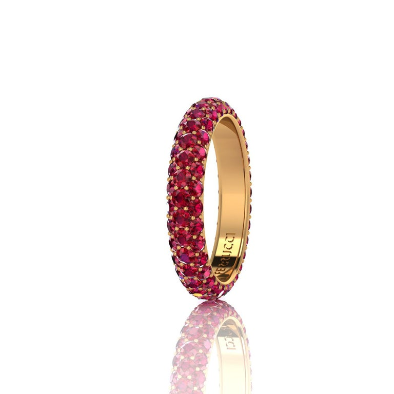 FERRUCCI Ruby eternity ring,  an approximate total carat weight of 2.00 carat, hand made in New York City with the best Italian craftsmanship, conceived in 18k yellow gold. Classic, sophisticated, gorgeous look, everlasting in time. This is a Ring