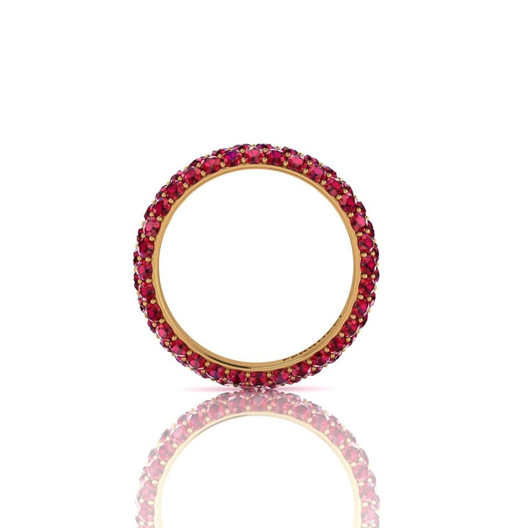 Modern 2 Carat Ruby Pave Eternity Ring in 18 Karat Yellow Gold For Sale
