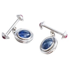 2 Carat Sapphire Cabochon and 18 Karat White Gold Cufflinks