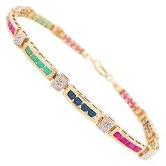2 Carat Sapphire, Ruby Emerald Tennis Bracelet Set in Solid 14 Karat Yellow Gold