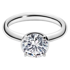 2 Carat Solitaire Traceable Diamond Ring in 18 Karat White Gold, Rocks for Life