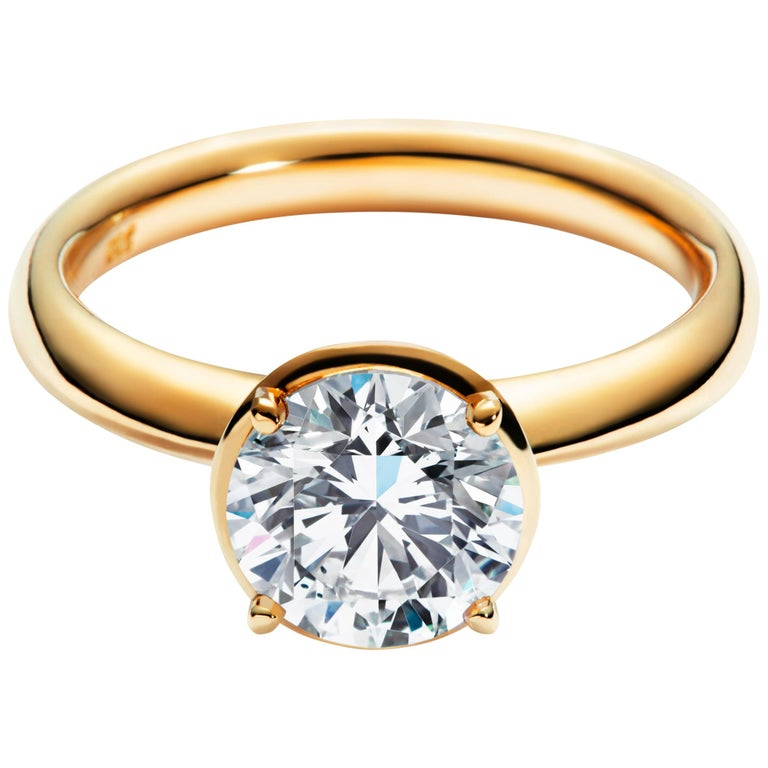 2 Carat Solitaire Traceable Diamond Ring In 18k Yellow Gold By Rocks For Life For Sale